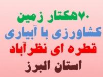 70 هکتار  زمین کشاورزی با چاه آب اختصاصی در نظرآباد